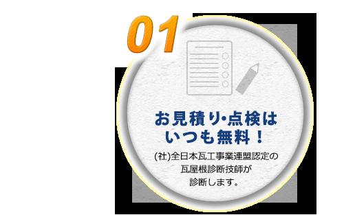 お見積り・点検はいつも無料!(社)全日本瓦工事業連盟認定の瓦屋根診断技師が診断します。
